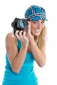 Professional Female Stock Photographer Isolated On White Holding Her Camera.