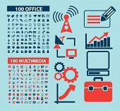 200 office, multimedia, media isolated icons, signs, illustrations, silhouettes set, vector