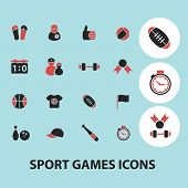 sport, fitness isolated icons, signs, illustrations, silhouettes set, vector