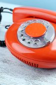 Retro red telephone, close up