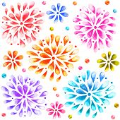 Colored Watercolor  Sunburst Flowers. Seamless ornament.