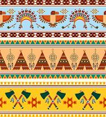 picture of peace-pipe  - Vector Seamless Tribal Ethnic Vintage Background Graphic Designs - JPG