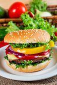 Homemade Hamburger With Fresh Vegetables, Close Up