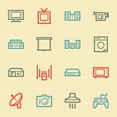 Home Appliance web icons, retro color