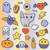Set of halloween kawaii cute sticker doodles and objects.