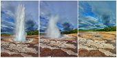 Three phases of the eruption of the geyser Strokkur in Iceland. A pillar of hot water and steam to p