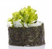 Vegetarian Sushi Roll Isolated On White Background