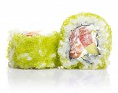 Sushi Roll With Sesame And Green Roe Isolated On White