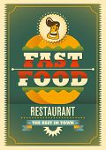 Comic fast food poster. Vector illustration.