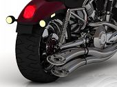 Motorcycle With Exhaust View Back