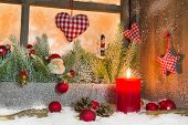 Rustic Lantern With Candlelights For Christmas - Classic Decoration In Red And White