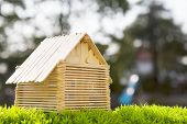 House Model Make From Wood Stick On Artificial Grass Field With Blurry Background Use For Home Nad H