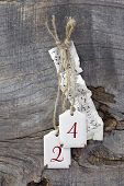Christmas decoration with wood and the number 24