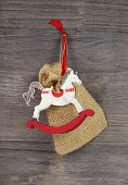 Rocking Or Wooden Toy Horse - Red And White Christmas Decoration