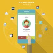 Flat social icons smartphone design infographics. UI flat design. Mobile app. Electroniv payment