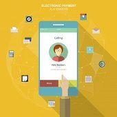 Flat social icons smartphone design infographics. UI flat design. Mobile app. Electroniv payment