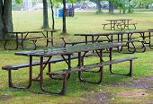 Wet Vacant Picnic Bench