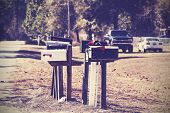Vintage Picture Of Mail Boxes, Rural Area, Usa.