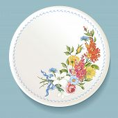 Baroque Bouquet of wildflowers on white plate