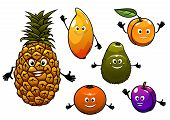 Cartoon fresh fruits set