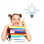 A picture of a schoolgirl having idea over white background