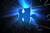 Digitally generated Blue glowing jigsaw piece on puzzle