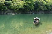 KYOTO, JAPAN - APRIL 26th  : The ferry of  Hozu(Katsuragawa) River in Arashiyama in Kyoto, Japan on