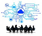 Group of Business People Discussing Cloud Computing