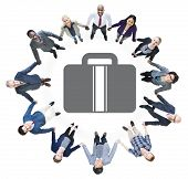 Business People Holding Hands and Briefcase Symbol