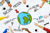 Hands on Table with Social Media Concepts