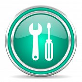 tools green glossy web icon