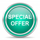 special offer green glossy web icon