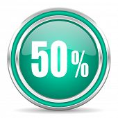 50 percent green glossy web icon