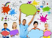 Children Holding Colorful Speech Bubbles and Happy Graffiti