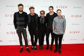 NEW YORK-AUG 11: (L-R) Brent Kutzle, Ryan Tedder, Drew Brown, Zach Filkins and Eddie Fisher of OneRepublic attend