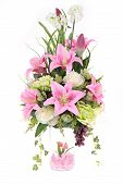 Decoration Artificial Plastic Flower With Glass Vase, Pink Crystal Inside