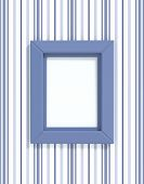 Plastic blue frame on blue lined wall