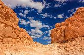 Clouds Over A Barren, Empty Desert Canyon