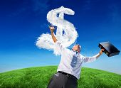 Composite image of businessman holding briefcase and cheering against cloud dollar