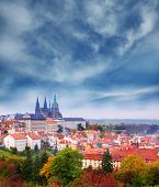 View on famous  Prague Castle and St. Vitus Cathedral. Autumn in the capital of Czech Republic. Stor