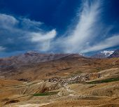 View on a small village in Spiti valley, India