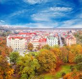 Autumnal park and residential area in Prague