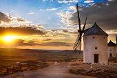 Windmill at sunset, Consuegra, Spain