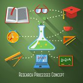 Flat concept of research, education processes. With icons - notebook, blackboard, book, graduation c