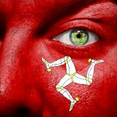 stock photo of triskelion  - Manx flag painted on a a man - JPG