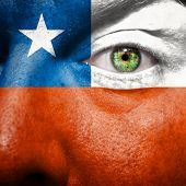 Flag Painted On Face With Green Eye To Show Chile Support