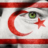 Flag Painted On Face With Green Eye To Show N-cyprus Support