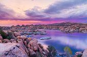 Sunset at Watson lake Prescott Arizona