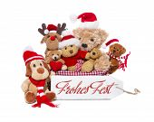 Teamwork - Group Of Teddy Bears Wish Merry Christmas