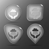 weather in hands. Glass buttons. Raster illustration.